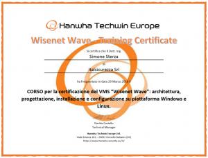 Certificazione corso Wisenet Wave Hnwha Techwin Europe