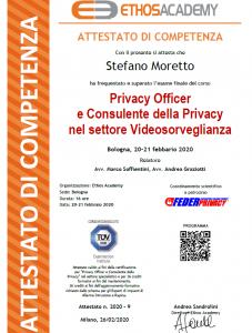 Attestato Privacy Officer e Consulente della Privacy nel settore Videosorveglianza