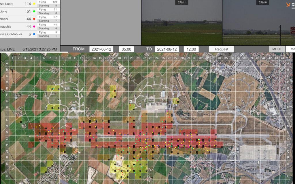 Screenshot del sistema BCMS Ventur che rintraccia i volatili presenti in un'area per prevenire il birdstrike